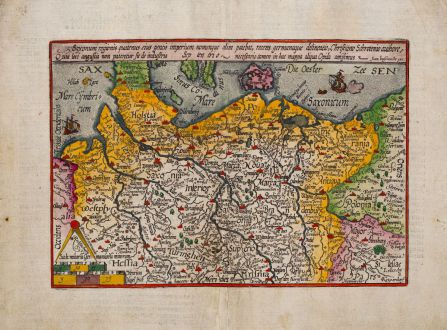 Antike Landkarten, Quad, Deutschland, Norddeutschland, 1600: Saxonum regionis quatenus eius gentis imperium nomenque olim patebat, recens germanaque delineatio