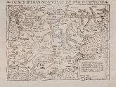 Antike Holzschnitt-Landkarte von Spanien - Portugal. Gedruckt bei Heinrich Petri im Jahre 1552 in Basel.