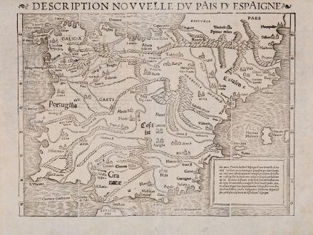Antique Maps, Münster, Spain - Portugal, 1552-68: Description nouvelle du pais d'Espaigne