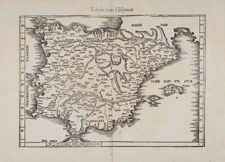 Antike Landkarten, Fries, Spanien - Portugal, 1541: Tabula nova Hispaniae [Tabula noua Hispaniae]