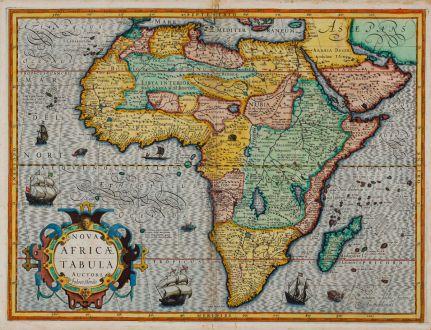 Antike Landkarten, Hondius, Afrika Kontinent, 1606: Nova Africae Tabula Auctore Jodoco Hondio