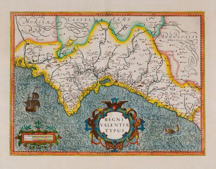 Antique Maps, Hondius, Spain - Portugal, Valencia, 1623 or 1630: Regni Valentiae typus