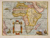 Coloured map of the African continent. Printed in Antwerp by Gillis van den Rade in 1575.