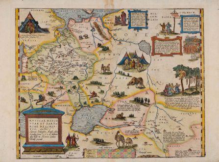Antike Landkarten, Ortelius, Russland, 1570: Russiae, Moscoviae et Tartariae Descriptio. Auctore Antonio Ienkensono Anglo, Edita Londini Anno 1562 ...