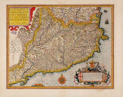 Antique Maps, Ortelius, Spain - Portugal, Catalunya, Cataluna, Catalonia: Cataloniae principatus novissima et accurata descriptio
