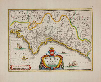 Antique Maps, Janssonius, Spain - Portugal, Valencia, 1640: Valentia Regnum
