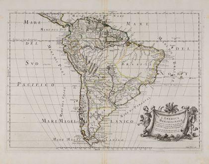 Antique Maps, Rossi, South America, 1677: L'America Meridionale Nuovamente Coretta...