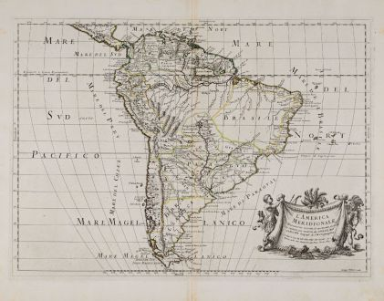 Antike Landkarten, Rossi, Südamerika, 1677: L'America Meridionale Nuovamente Coretta...