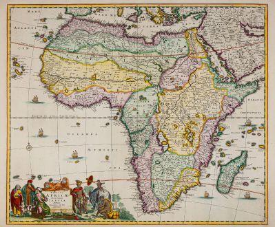 Antike Landkarten, de Wit, Afrika Kontinent, 1680: Totius Africae Accuratissima Tabula Authore Frederico de Wit