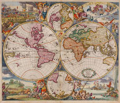 Antike Landkarten, Danckerts, Weltkarte, 1685: Nova Totius Terrarum Orbis Tabula Amstelodami per I. Danckerts cum Privil.