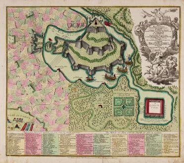 Antike Landkarten, Seutter, Krieg und Liebe, 1740: Symbolische Sinnreiche in einer Belagerung... Versuchungen der Liebe... Representation symbolique et ingenieuse...