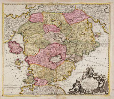 Antike Landkarten, Schenk, Schlaraffenland, 1700-10: Accurata Utopiae tabula. Das ist der neu entdeckten Schalck Welt, oder des so offt benanten, und doch nie erkanten...