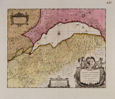 Antike Landkarten, Valk & Schenk, Schweiz, Genfersee, 1700: Lacus Lemanni Locorumque Circumiacentium Accuratissima Descriptio. Auctore Iacobo Goulartio Genevensi.
