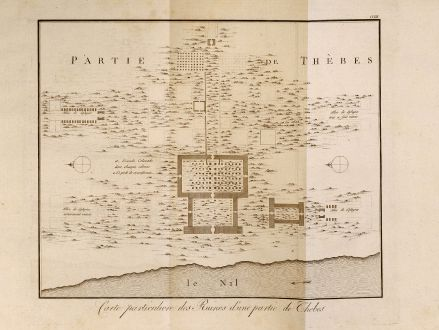 Antike Landkarten, Norden, Ägypten, Ägypten, Theben, Pyramiden, 1795: Carte particuliere des Ruines d'une partie de Thebes.