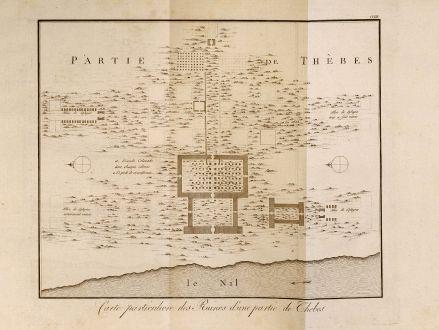 Antique Maps, Norden, Egypt, Thebes, Pyramides, 1795: Carte particuliere des Ruines d'une partie de Thebes.