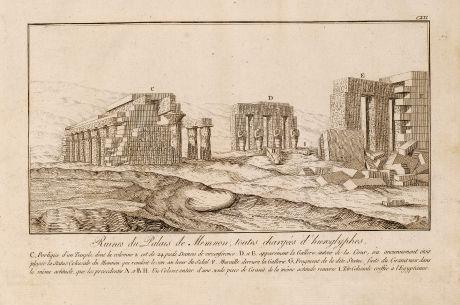 Books, Norden, Palace of Memnon, Hieroglyphs, Egypt, 1795: Ruines du Palais de Memnon toutes chargées d'hieroglyphes.