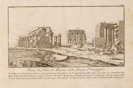 Bücher, Norden, Palast von Memnon, Hieroglyphen, Ägypten, 1795: Ruines du Palais de Memnon toutes chargées d'hieroglyphes.