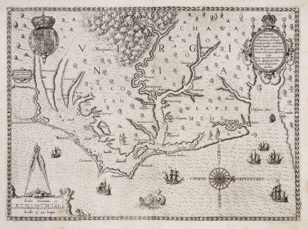 Antike Landkarten, de Bry, Nordamerika, Virginia, 1590: Americae Pars, Nunc Virginia Dicta, Primum ab Anglis Inventa Sumtibus Dn. Walteri Raleigh Equestris Ordinis Viri Anno Dni....