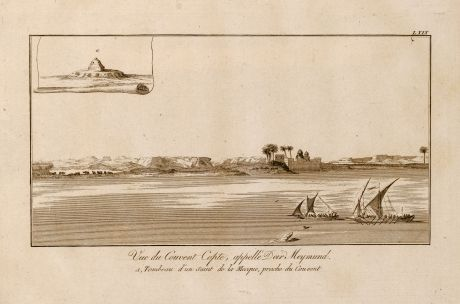 Antique Maps, Norden, Egypt, Nile River, Ships, 1795: Vue du Couvent Copte, appellé Deir Meymund.