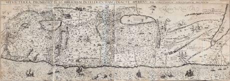 Antike Landkarten, Adrichem, Heiliges Land, 1593: Situs Terrae Promissionis SS Bibliorum Intelligentiam Exacte Aperiens