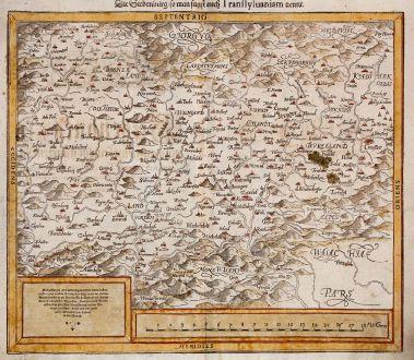 Antique Maps, Münster, Romania - Moldavia, Transylvania, 1588: Die Siebenbürg, so man sunst auch Transsylvaniam nennt