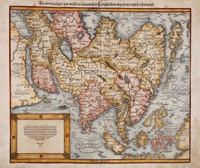 Antike Landkarten, Münster, Asien Kontinent, 1588: Asia wie es jetziger zeit nach den fürnemesten Herrschafften abgetheilet und beschriben ist.