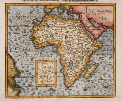 Antique Maps, Münster, Africa Continent, 1588 (1598): Affricae tabula nova / Africa, Lybia, Morenlandt, mit allen Königreichen so jetziger Zeit darumb