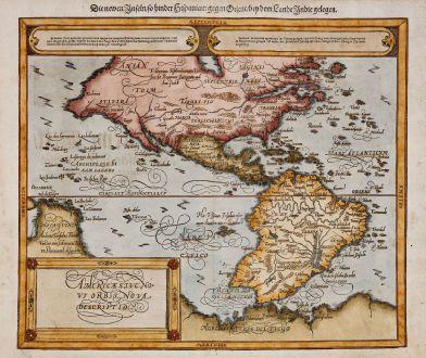 Antique Maps, Münster, America Continent, 1588 (1598): Americae sive Novi Orbis, Nova Descriptio / Die newen Inseln, so hinder Hispania gegen Orient, bey dem Landt Indie gelegen