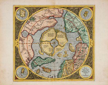 Antique Maps, Mercator, North - South Pole, 1613: Septentrionalium Terrarum Descriptio