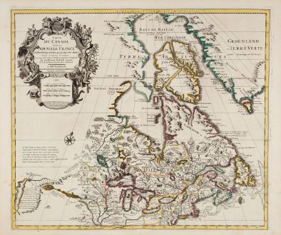 Antique Maps, Covens and Mortier, North America, Canada, 1730: Carte du Canada ou de la Nouvelle France et des Decouvertes qui y ont ete Faites Dressee sur Plusieurs Observations ... par...
