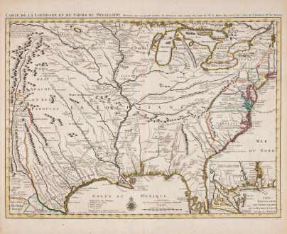 Antike Landkarten, Covens and Mortier, Nordamerika, Mississippi, Louisiana, 1730: Carte De La Louisiane et du Cours du Mississipi
