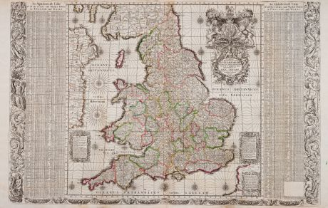 Antique Maps, Adams, British Isles, England and Wales, 1679 (1699): [Angliae totius tabula...] - An Alphabeticall Table of all the Cities and Market Towns in England and Wales - Serenissimo ac...