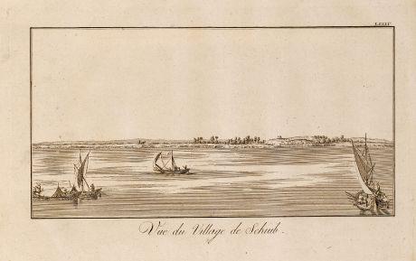 Antike Landkarten, Norden, Ägypten, Ägypten, Nil, Schiffe, 1795: Vue du Village de Schiub.