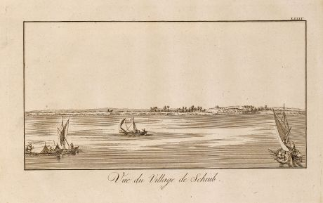 Antique Maps, Norden, Egypt, Nile River, Ships, 1795: Vue du Village de Schiub.