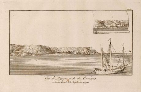 Antique Maps, Norden, Egypt, Nile River, Ships, 1795: Vue de Rejeyna et de ses Environs.