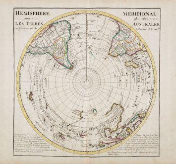 Antike Landkarten, de l Isle, Pazifik, Südliche Hemisphäre mit Australien: Hemisphere Meridional pour voir plus distinctement Les Terres Australes...