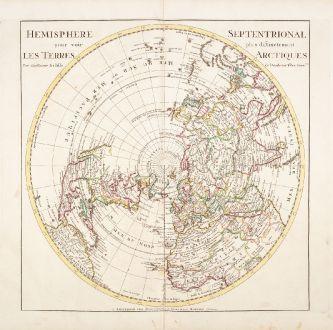 Antique Maps, de l Isle, Polar Region, Northern Hemisphere, 1730: Hemisphere Septentrional pour voir plus distinctement Les Terres Arctiques...