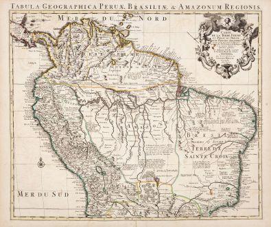 Antique Maps, de l Isle, South America, 1730: Carte de la Terre Ferme, du Perou, du Bresil, et du Pays des Amazones...