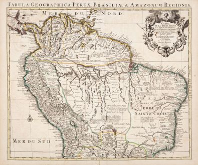 Antike Landkarten, de l Isle, Südamerika, 1730: Carte de la Terre Ferme, du Perou, du Bresil, et du Pays des Amazones...