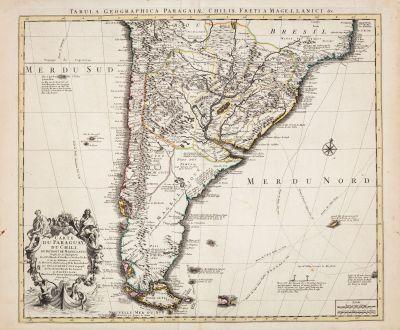 Antique Maps, de l Isle, South America, 1730: Carte du Paraguay du Chili du Detroit de Magellan...