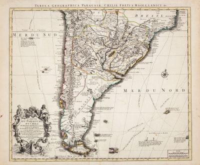 Antike Landkarten, de l Isle, Südamerika, 1730: Carte du Paraguay du Chili du Detroit de Magellan...