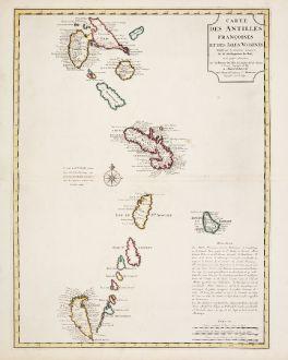 Antique Maps, de l Isle, Central America - Caribbean, Lesser Antilles, French West Indies: Carte des Antilles Francoises et des Isles Voisines...