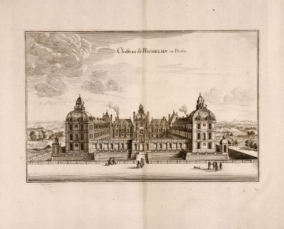 Antike Landkarten, Merian, Frankreich, Richelieu, 1657: Chateau de Richelieu en Poictou