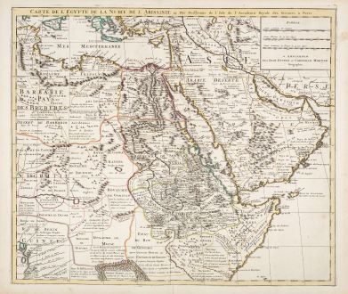 Antike Landkarten, de l Isle, Ägypten, 1730: Carte de l'Egypte de la Nubie de l'Abissinie