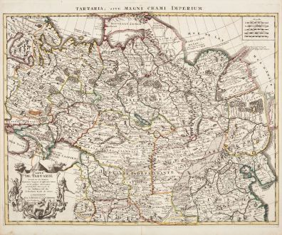 Antique Maps, de l Isle, Russia, 1730: Carte de Tartarie Dressee sur les Relations de Plusieurs Voyageurs de Differentes Nations... / Tartaria, sive magni chami...