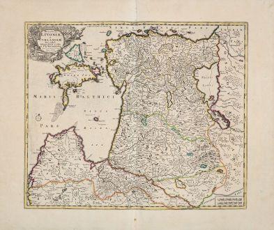 Antique Maps, de Wit, Baltic, Lithuania, Latvia, Estonia, 1680: Ducatuum Livoniae, et Curlandiae, Nova Tabula...