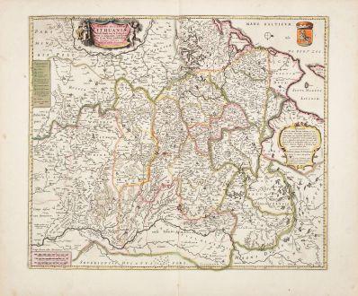 Antique Maps, de Wit, Baltic, Lithuania, Latvia, 1680: Magni Ducatus Lithuaniae Tabula...