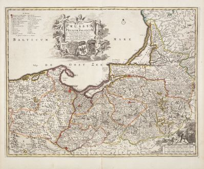 Antike Landkarten, de Wit, Polen, Preußen, Königsberg, Danzig, 1730: Regni Prussiae et Prussiae Polonicae...