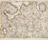 Old coloured map of Russia. Printed in Amsterdam by Covens & Mortier circa 1730.