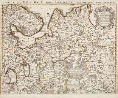 Antike Landkarten, de l Isle, Russland, 1730: Carte de Moscovie. Dressee par Guillaume De l'Isle...